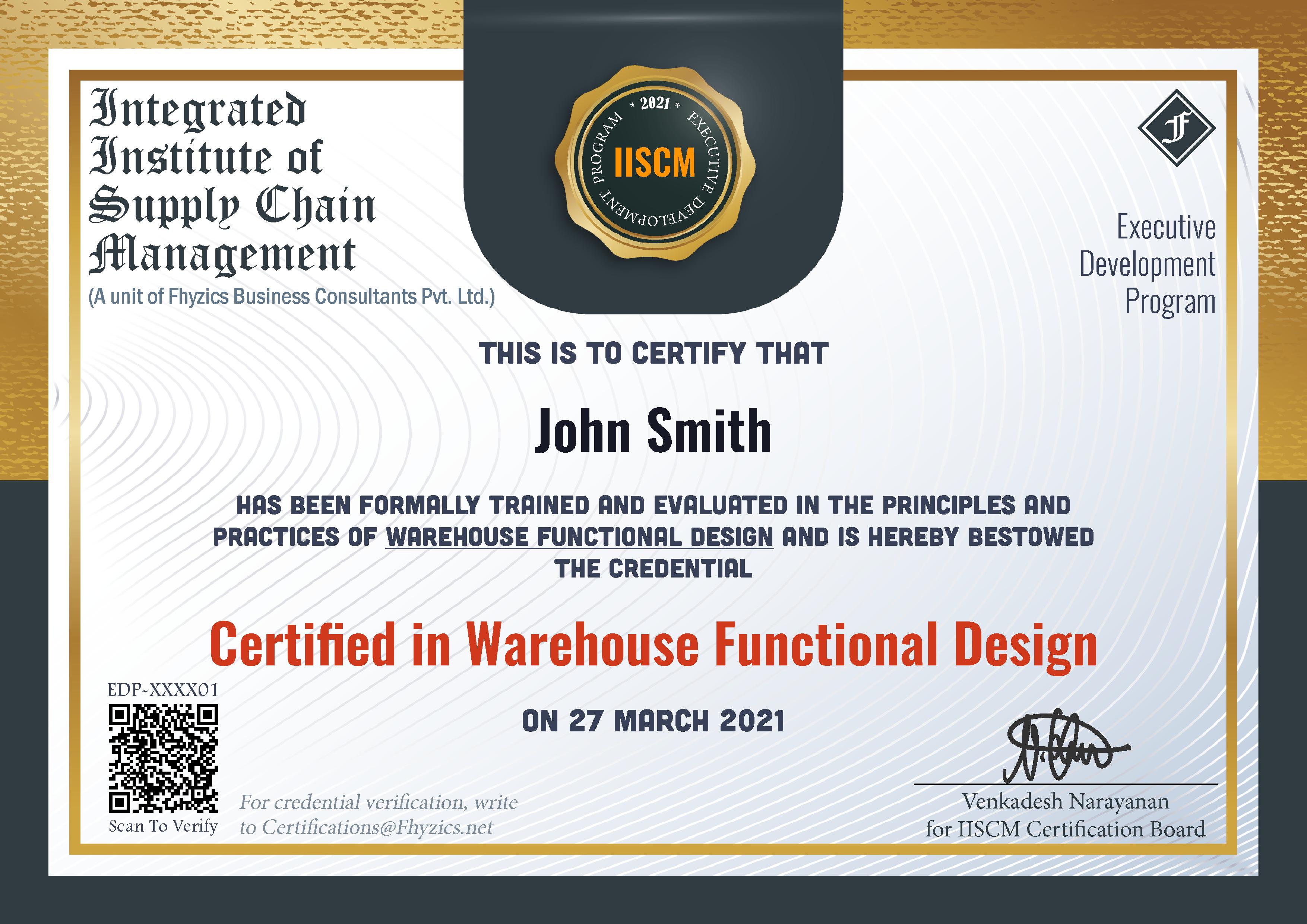Sample EDP Certificate